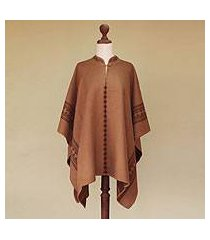 reversible alpaca blend poncho, 'andean earth' (peru)