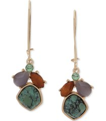 lonna & lilly gold-tone multi-stone cluster drop earrings