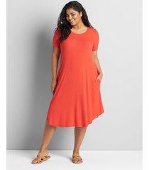lane bryant women's short-sleeve ribbed swing dress 30/32 flame scarlet