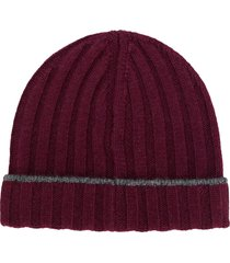 brunello cucinelli ribbed knit beanie - red