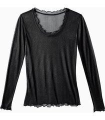 shirt met lange mouwen en ronde hals uit biologische zijde, zwart 36/38