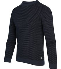 blue industry pullover trui ronde hals navy