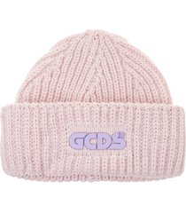 pink knitted man hat with logo