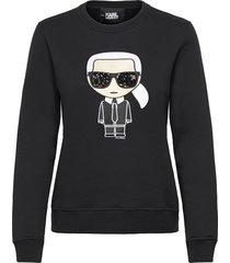 ikonik karl sweatshirt sweat-shirt tröja svart karl lagerfeld