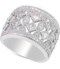 diamond openwork milgrain wide statement ring (1-1/4 ct. t.w.) in sterling silver