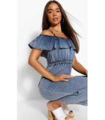 strappy frill denim jumpsuit, mid blue