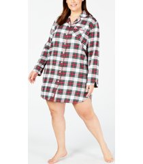 charter club plus size cotton flannel sleepshirt nightgown, created for macy's
