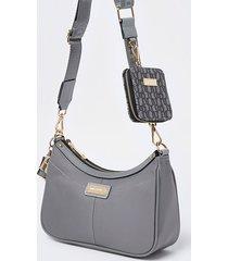 river island womens grey scoop shoulder bag with mini pouchette