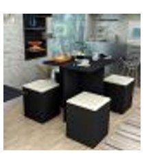 conjunto de mesa de jantar quadrada nanda com 4 bancos   banquetas estofados corino preto e bege