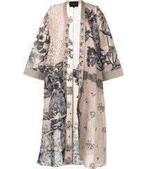 biyan lace-panelled floral print coat - brown