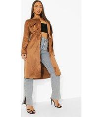 duster jas met zak detail en geplooide taille, chocolate