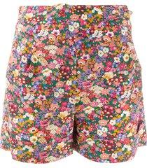 blazé milano floral print silk shorts - pink