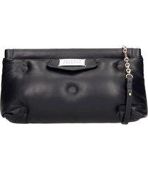 maison margiela glam slam clutch in black leather
