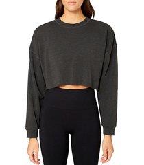 weworewhat women's cropped cotton-blend sweatshirt - pale navy - size l
