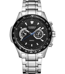 reloj curren 8020 hombres cuarzo militar 3atm plateado negro
