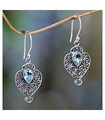 blue topaz dangle earrings, 'hibiscus dew' (indonesia)