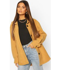utility pocket wool look shirt jacket, camel