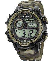 reloj sport digital collection verde militar calypso