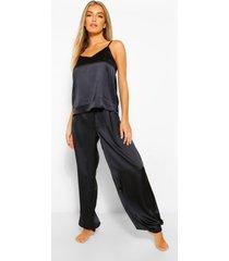 satijnen hemdje en joggingbroek pyjama set, black