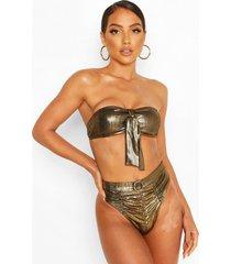 metallic bandeau high waist bikini, gold