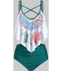 plus size crisscross feather print ruffled tankini swimwear