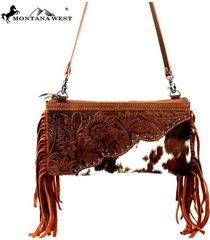 3 colors montana west fringe 100% cowhide leather clutch bag l001