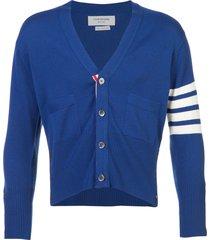 thom browne 4-bar short cardigan - blue