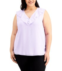 calvin klein plus size ruffled v-neck chiffon top