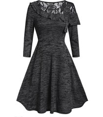 marled lace insert round collar fit and flare dress