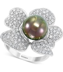 effy cultured black tahitian pearl (10mm) & diamond (1 ct. t.w.) flower statement ring in 14k white gold