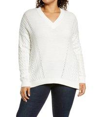 plus size women's caslon v-neck cable sweater, size 2x - ivory