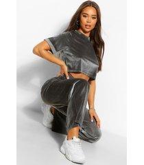 velvet box t-shirt en broek met wijde pijpen set, grijs