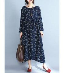 abiti con stampa floreale o-collo manica lunga da donna casual vintage