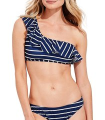 vineyard vines women's break stripe one-shoulder bikini top - navy stripe - size 3x (22-24)