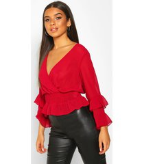 woven chiffon ruffle detail blouse, berry