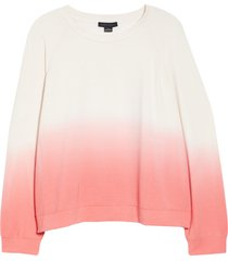 plus size women's sanctuary ombre raglan sweatshirt, size 1x - beige