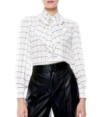 women's alice + olivia windowpane check tie neck silk blouse