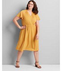 lane bryant women's knit kit crossover fit & flare dress 14/16 golden spice
