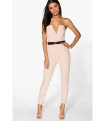 bandeau belted jumpsuit, stone