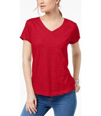 style & co petite burnout v-neck t-shirt, created for macy's