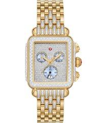 women's michele deco pave diamond chronograph watch head & bracelet, 33mm