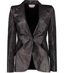 alexander mcqueen linen single-breasted blazer