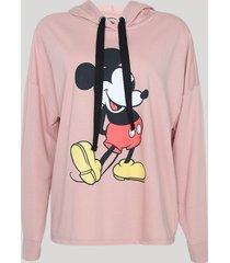 blusão de moletom feminino plus size mickey com capuz rosa