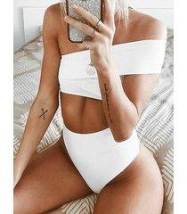 bikini de hombro blanco irregular de cintura alta one