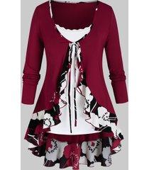 plus size flower flounce tie blouse and lace panel cami top set
