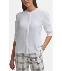 calvin klein ruched-sleeve button-down top, regular & petite sizes