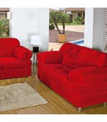capa p/ sofá roma dourados enxovais 2 e 3 lugares vermelho malha elasticada 02 peças 21 elasticos
