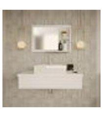 conjunto para banheiro bancada com cuba q39 quadrada e espelheira city 801 branco chess