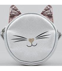 bolsa infantil gatinho metalizada com orelhinhas prateada