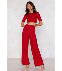 womens everything's about tee wide-leg pants lounge set - red